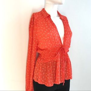 💋💋Free People Red Floral Peplum Button Blouse